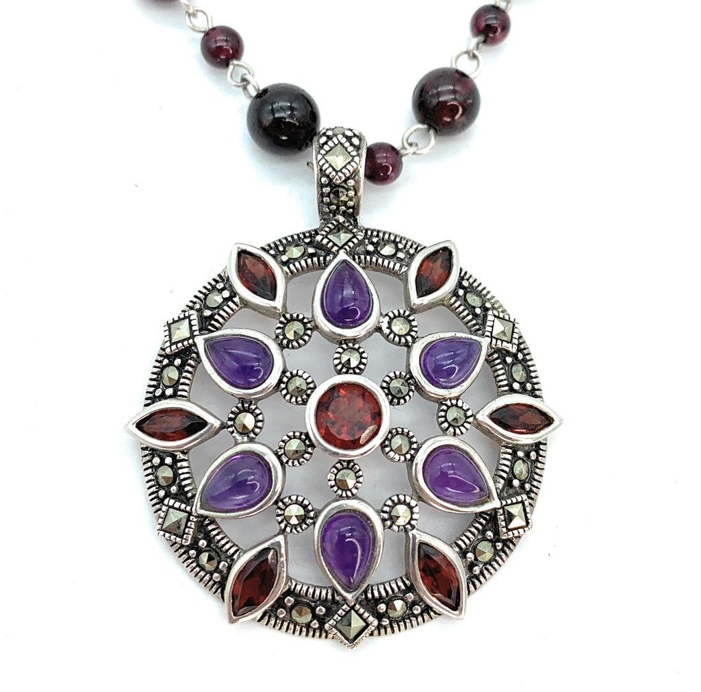 Vintage Amethyst & Ruby Sterling Silver Disc Pendant Necklace