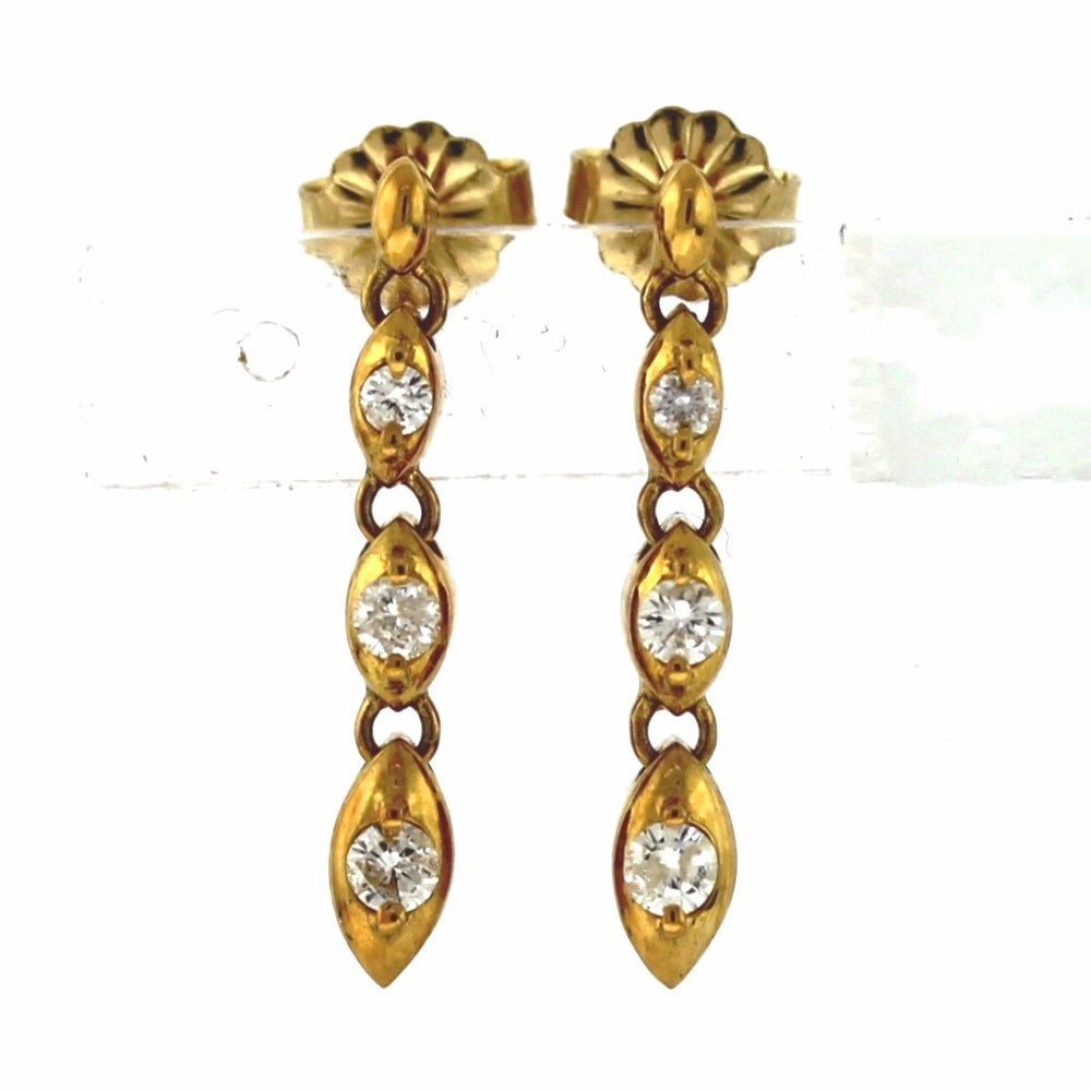 18K Yellow Gold 0.60ctw Round Brilliant Cut Diamond Dangle Earrings