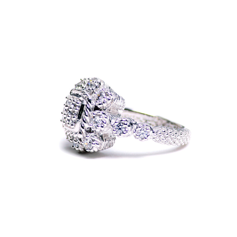 Judith Ripka Diamonique Sterling Heirloom Statement Ring