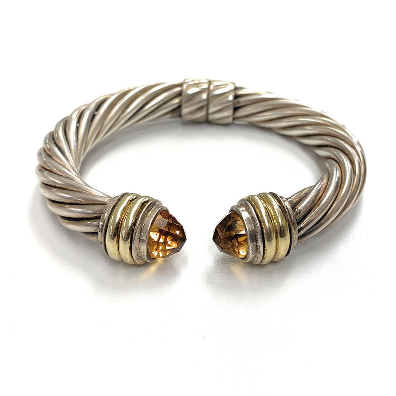 DAVID YURMAN Sterling Silver 14K Yellow Gold Citrine Hinged Cable Cuff Bracelet