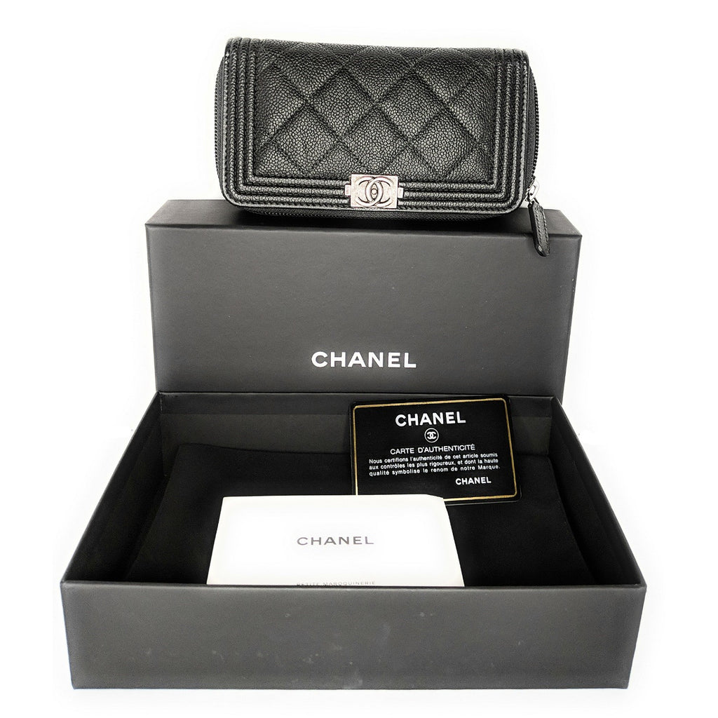 Chanel Small Caviar Zip-Around Boy Wallet A80566