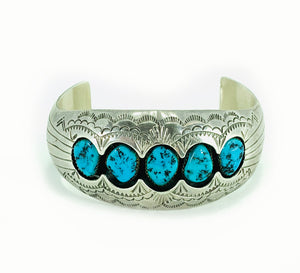 GORGEOUS 5 Stone Dry Creek Turquoise Sterling Silver Shadowbox Cuff Bracelet