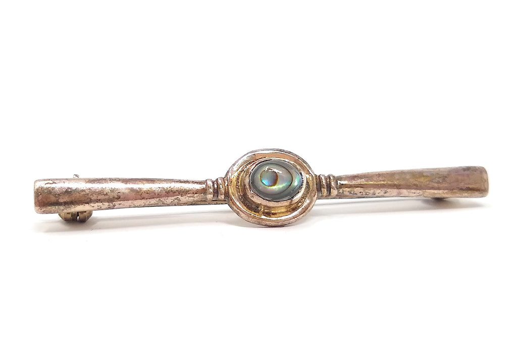 Victorian Sterling Abalone Bar Brooch Pin