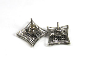 White Gold Womens Diamond Square Kite Cluster Screwback Earrings