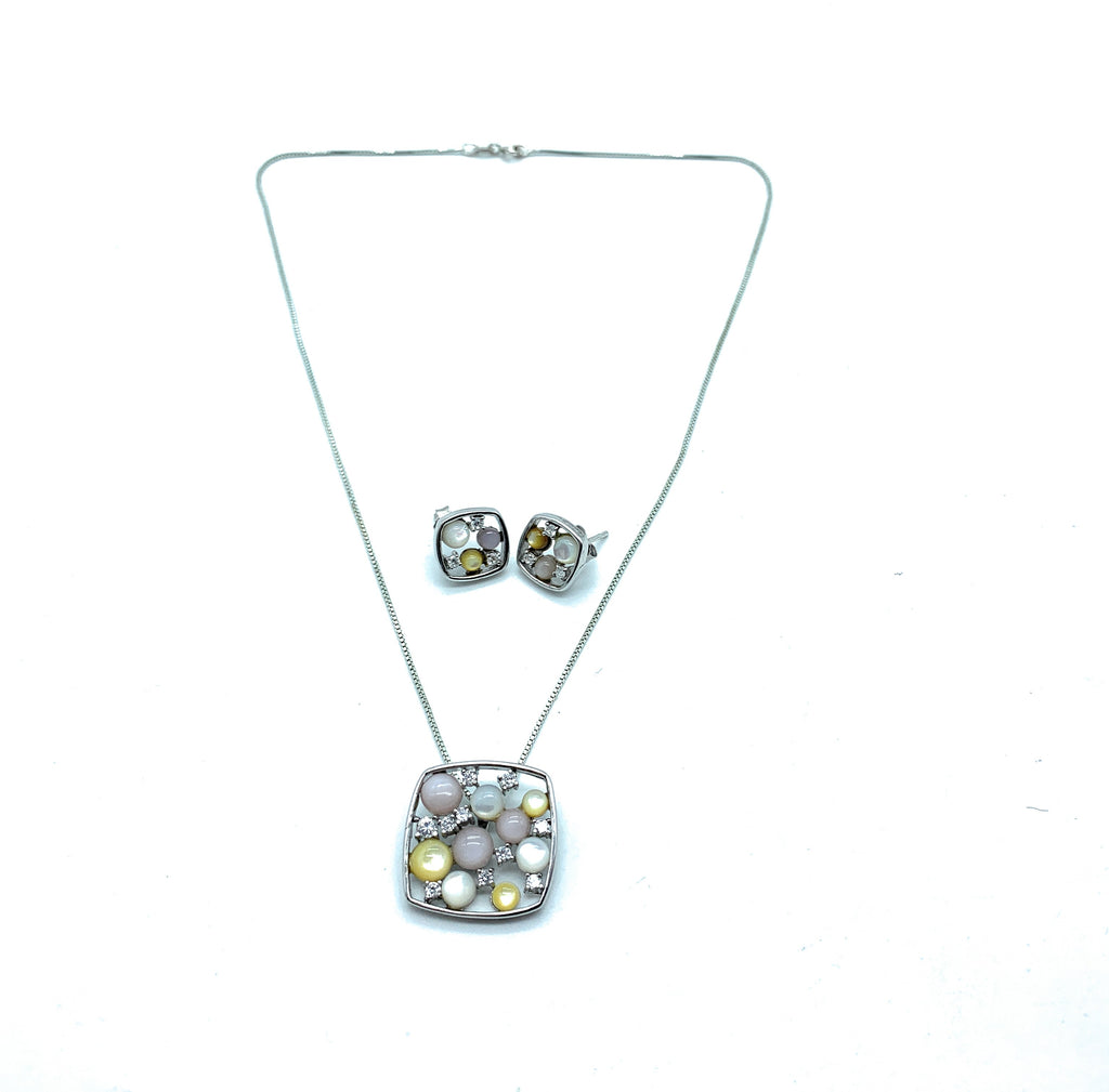 Sterling Silver & Multi-Gemstone Pendant Necklace & Earring Set