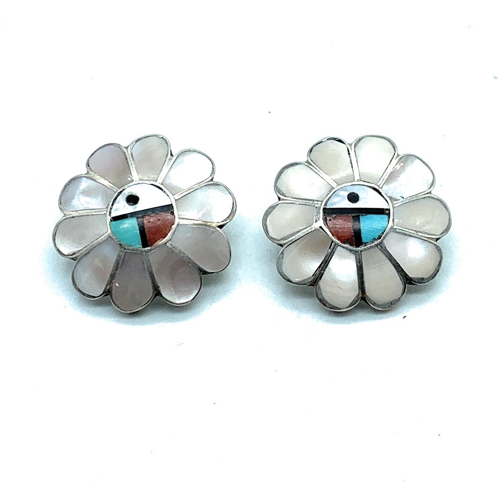 Vintage Old Pawn Zuni Sterling Silver Multi Stone Inlay Sunface Earrings