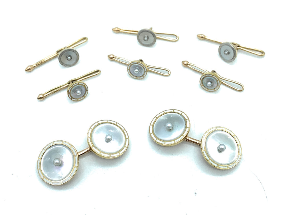 Vintage 14K Gold & Mother Of Pearl Enamel Tuxedo Stud & Cufflink 8pc. Set