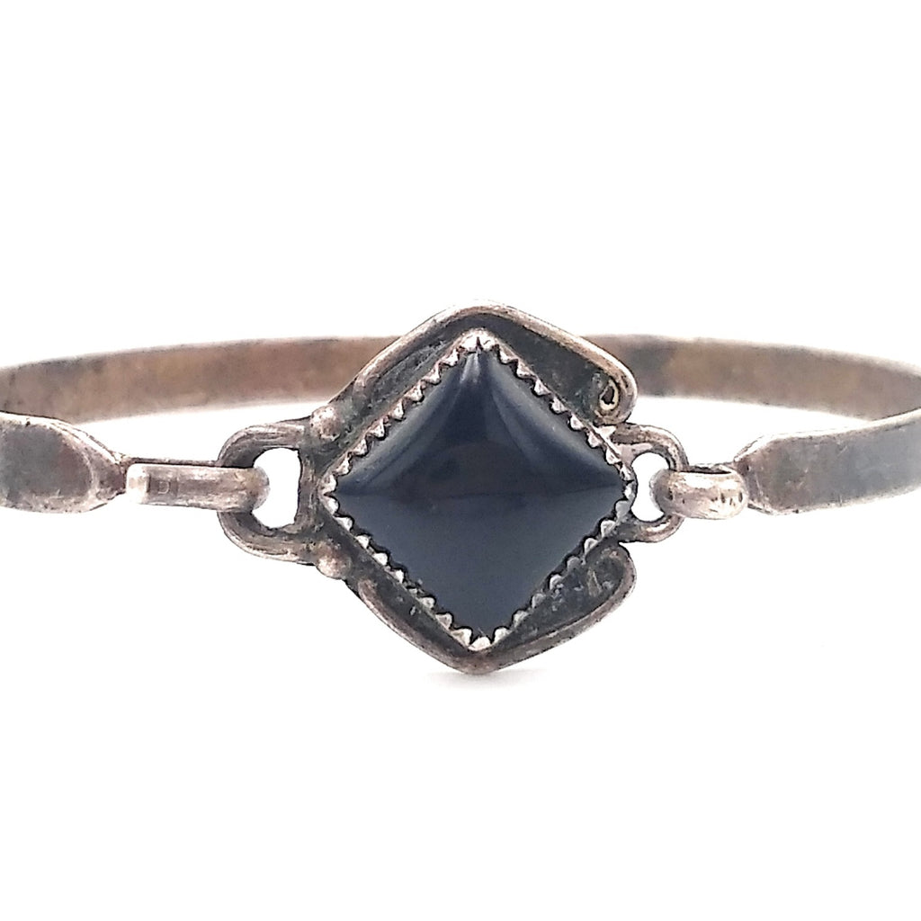 Zuni Sterling Silver Onyx Hinged Bangle Bracelet