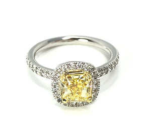 14K Two-Tone Gold Fancy Intense Yellow 0.99ctw Diamond Radiant Halo Engagement Ring