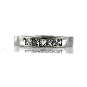 Women's 10k white gold Princess Cut diamond wedding band 0.40ctw -Sz. 8.25
