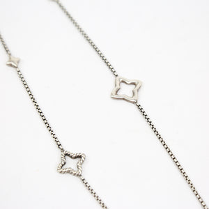 "David Yurman Sterling Silver Necklace with Star Charms ""Quatrefoil"""