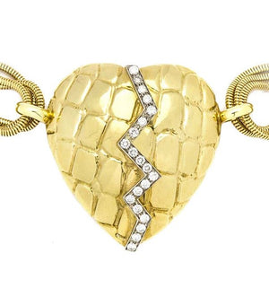 Gucci 18K Yellow Gold & Diamond 'Mended Heart' Chain Necklace