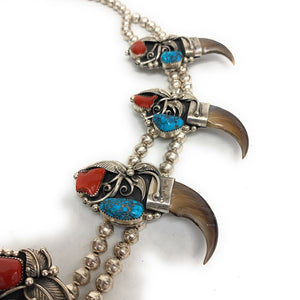 Vintage Navajo Navajo Bear Claw, Turquoise, & Red Coral Squash Blossom Necklace