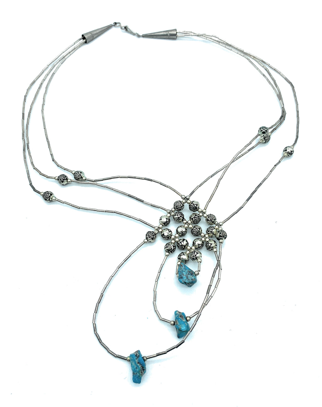 Vintage Zuni Sterling Silver Liquid Silver Rose bead & Turquoise Necklace