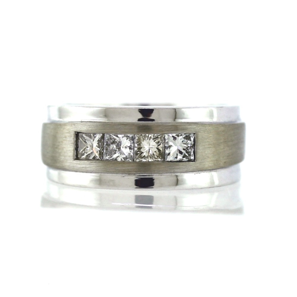 14K White Gold 0.62ctw Diamond Men's Wedding Band, Sz. 8
