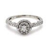 14K White Gold 0.56ctw Diamond Double Halo Engagement Ring - Sz 7.75