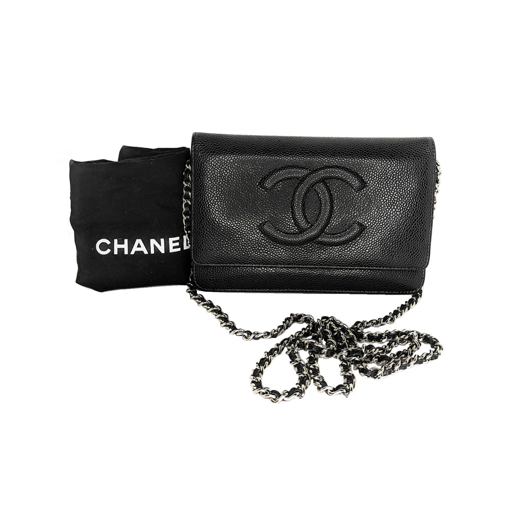 Chanel 2010 Black Caviar Timeless Wallet On Chain WOC