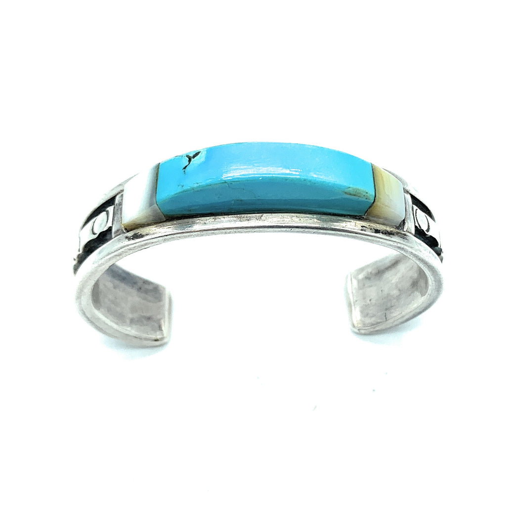 Vintage 1970's Zuni Sterling Silver, Turquoise, & MOP Inlay Cuff Bracelet