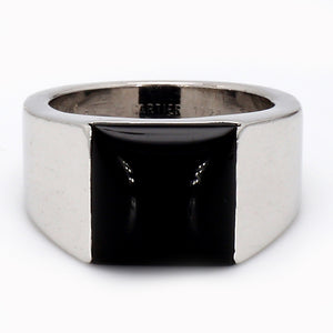 Authentic! Cartier 18K White Gold & Onyx Tank Ring - Sz.  8.25