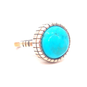 Signed Ray Morton Titled (Whirling Wind) Turquoise Ring SZ 7 3/4