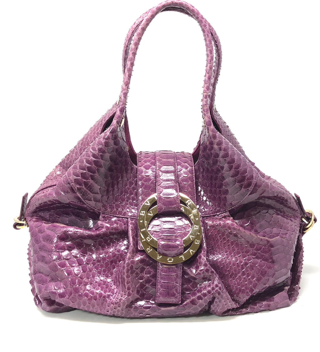 "Bvlgari ""Chandra"" Purple Python Hobo Shoulder Bag"