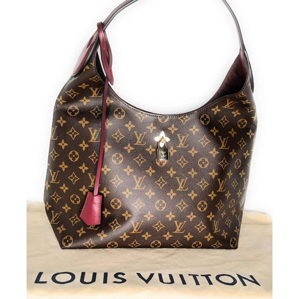 Louis Vuitton Monogram Canvas Flower Hobo Bordeaux