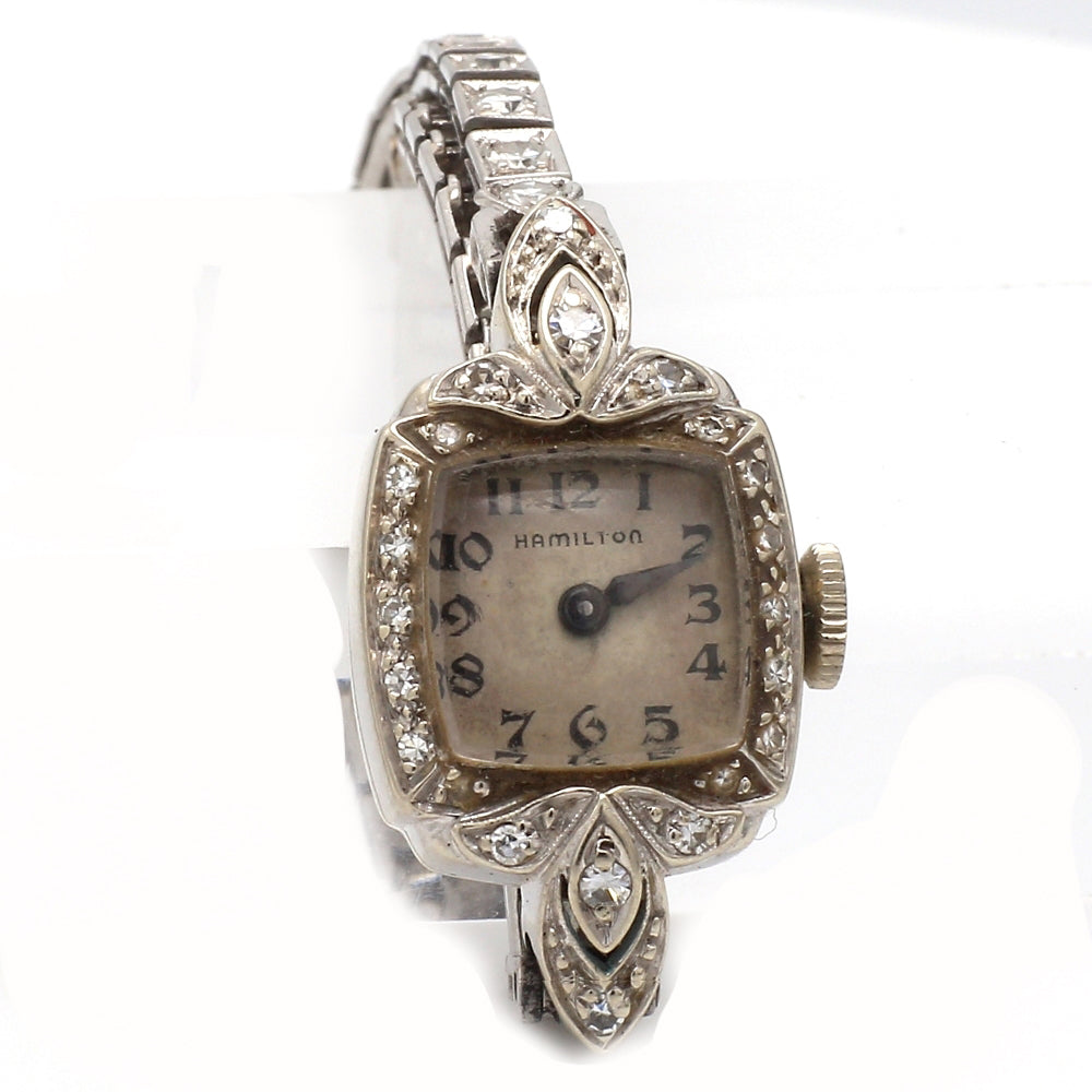 Antique Hamilton 14K White Gold 1.00ctw 53 Diamond Ladies Cocktail Watch