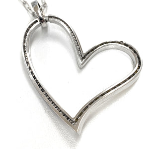 18K Gold White & Yellow .90ctw Diamond Irradiated Heart Necklace