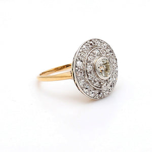 Vintage Platinum & 14K Yellow Gold 0.90ctw Diamond Ring - Sz. 5.5