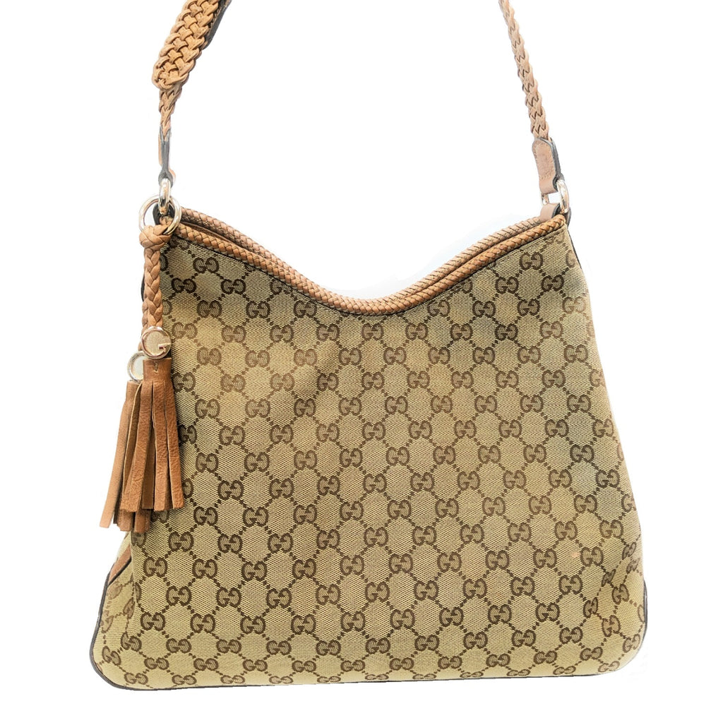 Gucci Beige/Brown GG Canvas Marrakech Medium Hobo Shoulder Bag