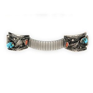 Native American Sterling Silver Turquoise Coral Watch Tips & Band