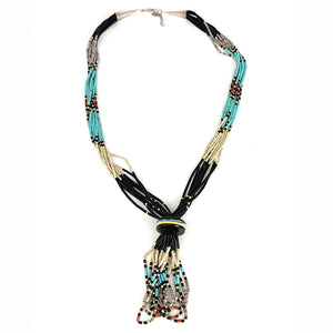BEAUTIFUL Vintage Navajo Sterling Silver 9 Strand Native American Multi Stone Heishi Bead Necklace