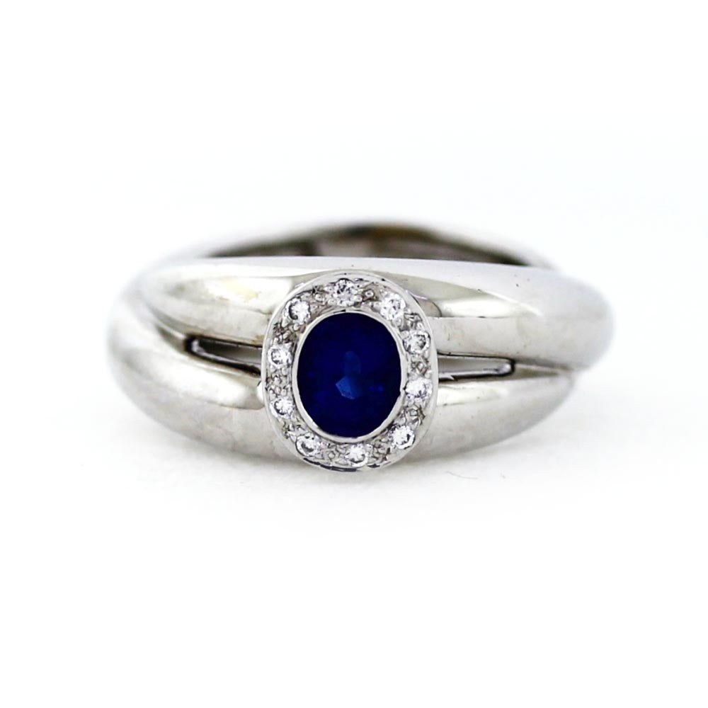 18K White Gold Sapphire and Diamond Halo Ring - Sz. 5.5