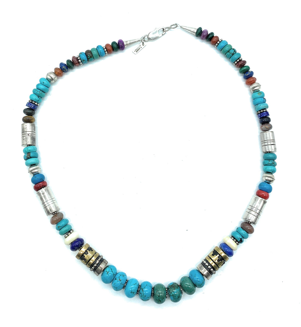 Vintage T. Singer Navajo Sterling Silver & 14K Gold Multi-Gemstone Necklace