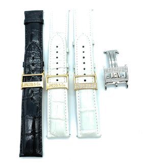 Jacob & Co. 18K Gold Alligator 22mm Watch Straps And SS & Diamond Tang Buckle
