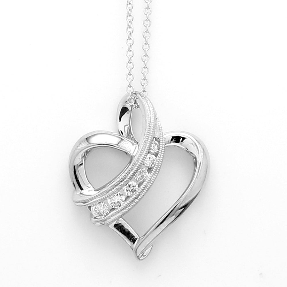 Channel Set 0.15ctw Diamond Heart Pendant in 14K White Gold