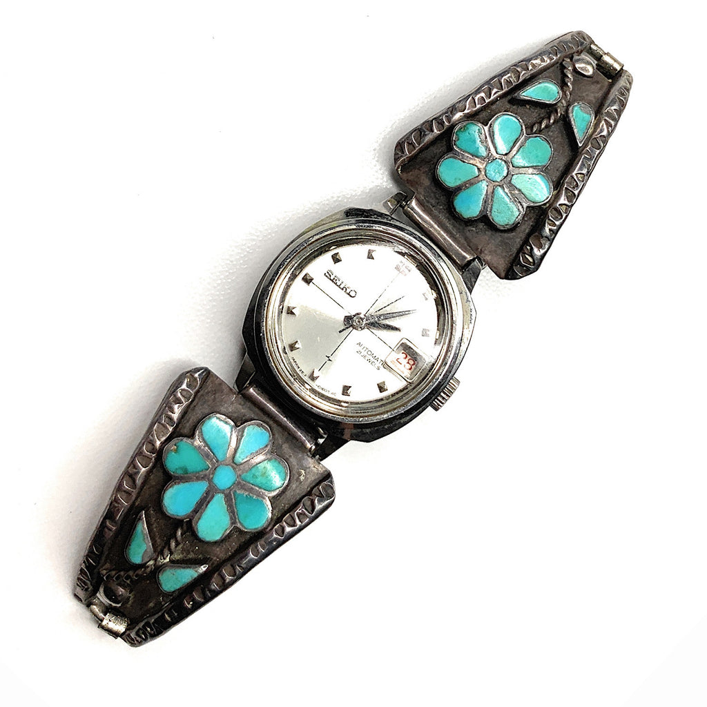 Vintage Zuni Sterling Silver Turquoise Petit point Flower Watch Tips Band