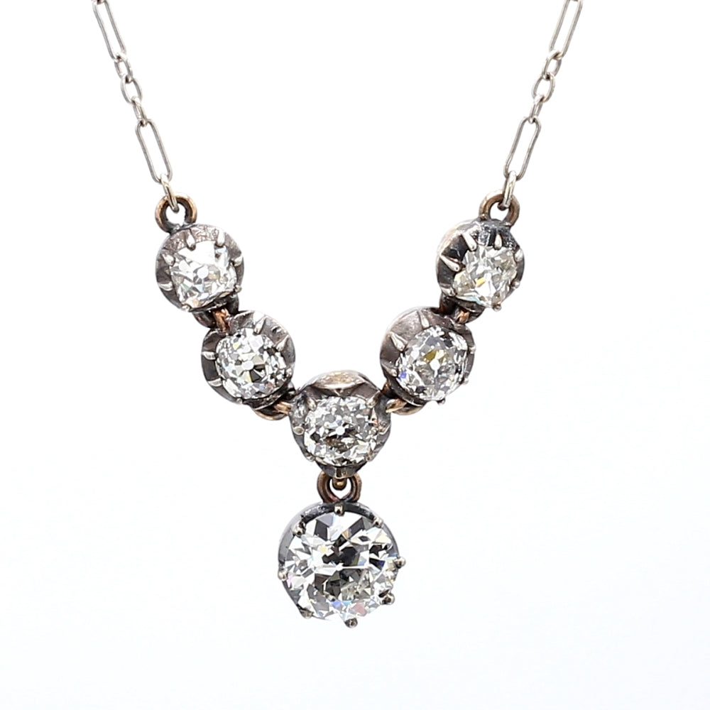 Vintage Platinum 2.88ctw Diamond Pendant and Necklace