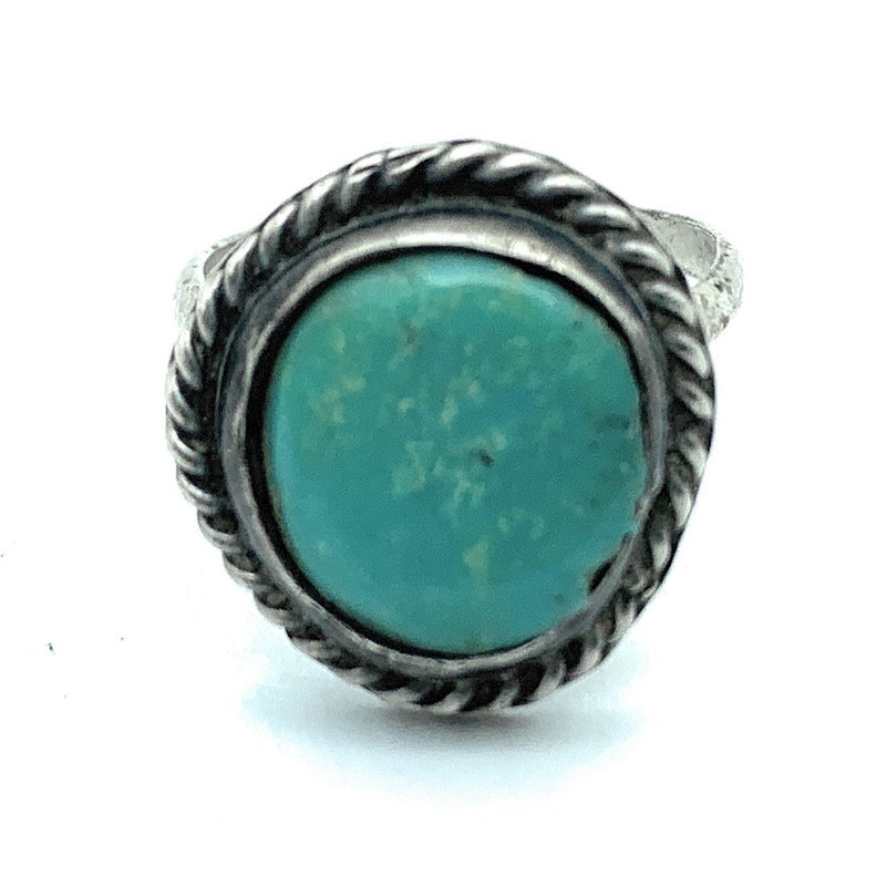 Vintage 1950's Navajo Sterling Silver & Turquoise Child's Ring - Sz. 3.75