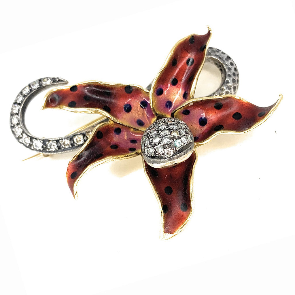 Antique 14K Gold, Sterling Silver, Enamel & Diamond Snake Lily Pin Brooch