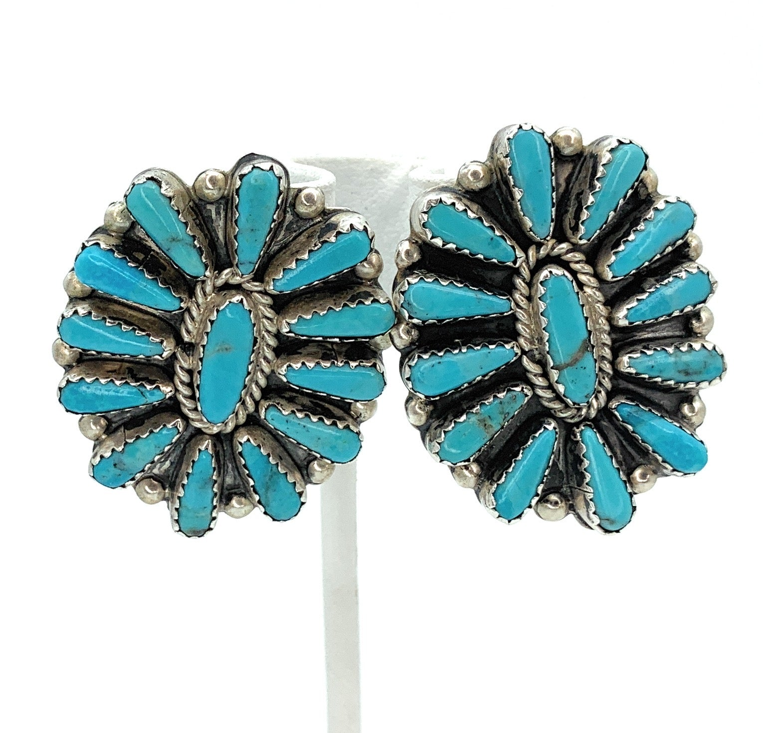 Vintage Native Old Pawn Sterling Concho Sleeping Beauty Turquoise Earrings