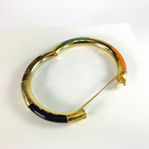 Asian Gold Plated Sterling Silver Jade & Tiger's Eye Bracelet