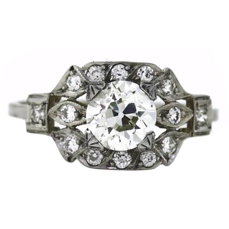 Vintage Platinum Antique Art Deco Style Diamond Engagement Ring, Size 8.25