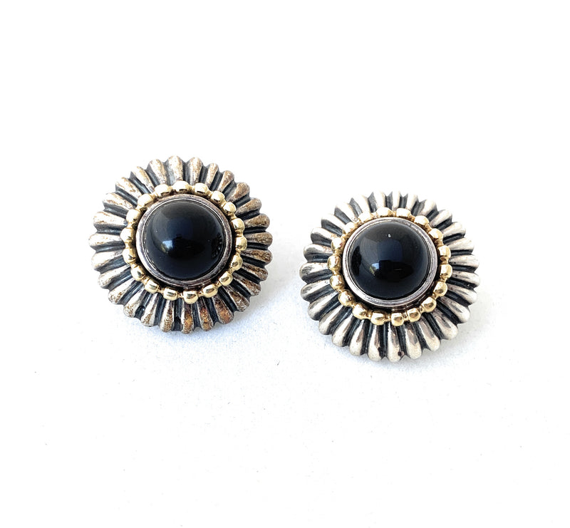 "Lagos ""Caviar"" Onyx 18K Yellow Gold & Sterling Silver Earrings"