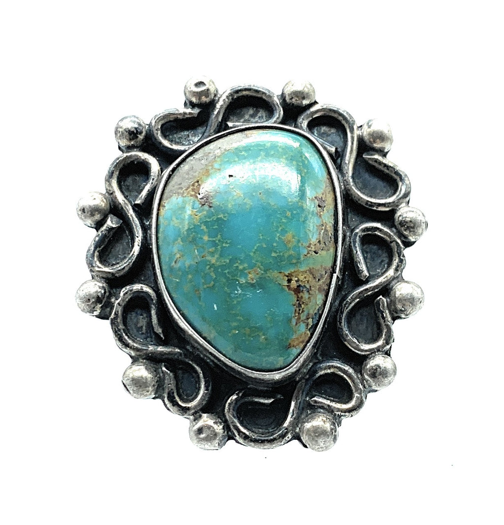 Vintage 1960's Old Pawn Split Shank Sterling Silver & Royston Turquoise Ring