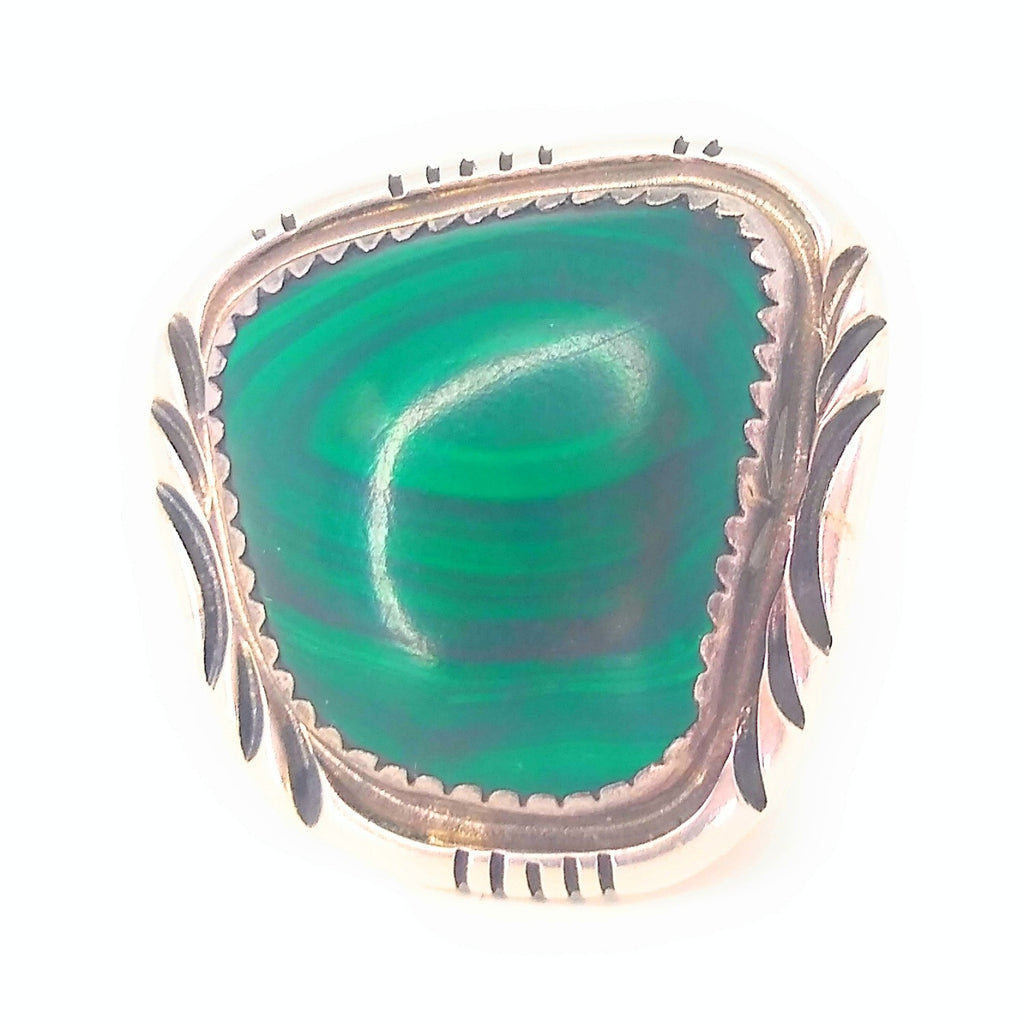 Signed MT Sterling Bold Statement Malachite Ring Sz 7.5