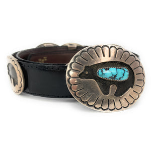"Native American Navajo Turquoise Sterling Silver Bear Concho Belt - Signed ""Jackson"""