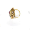 VINTAGE 18K Yellow Gold Ruby & Sapphire 0.75ctw Floral Cluster Cocktail Ring - Sz. 4¾