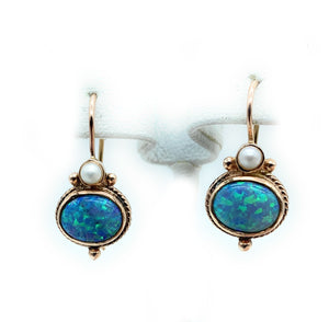 14K Yellow Gold Blue Opal & Pearl Drop Earrings