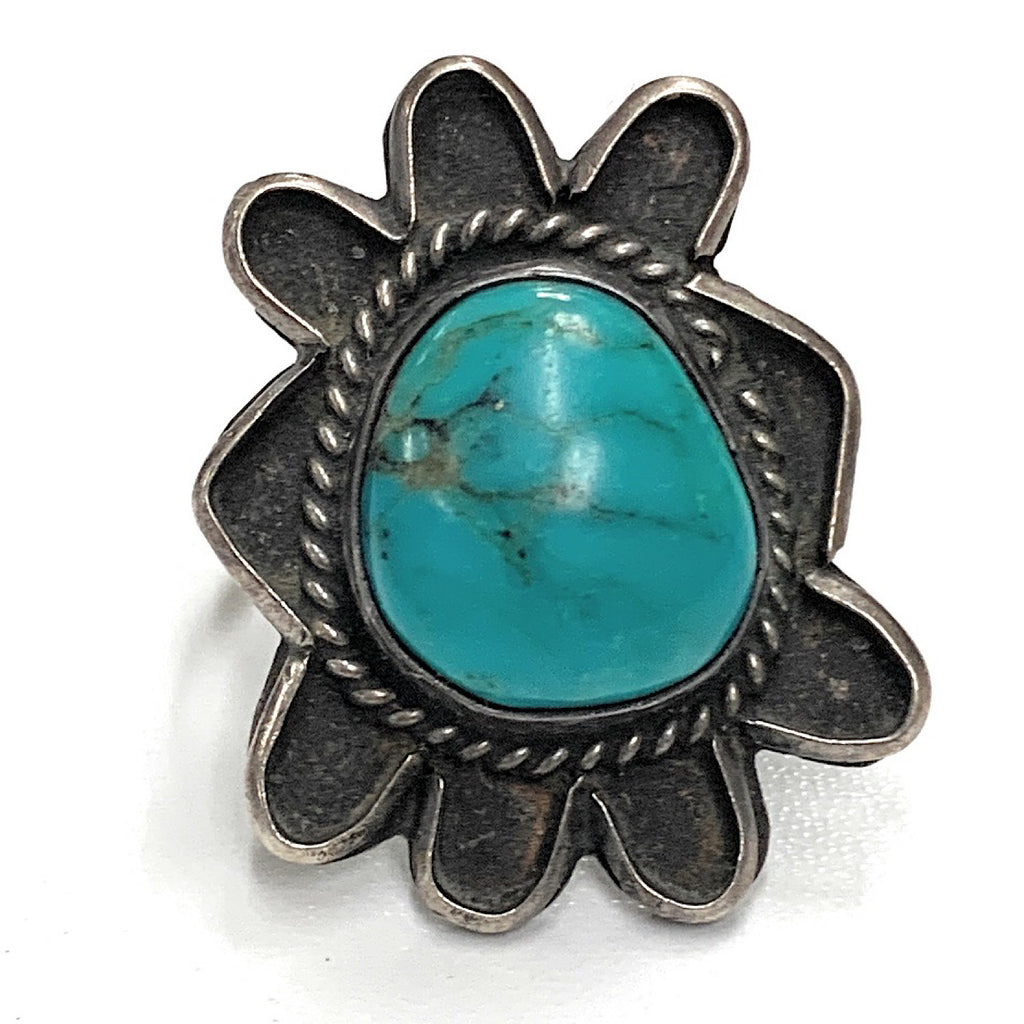Vintage 1960's Navajo Sterling Silver & Carico Lake Turquoise Ring